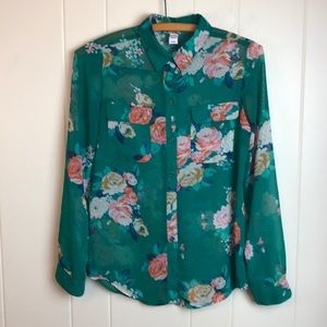 3/$27 Old Navy Green Floral Button Down Top